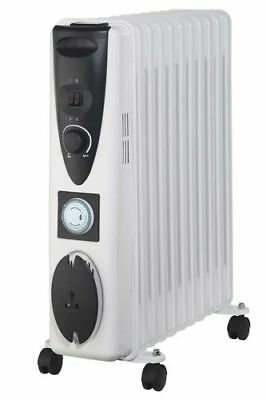 2.5 Kw 11 Fin Oil Filled Electric Thermostat Radiator With Adjustable Timer