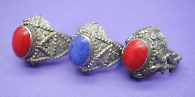 Group of 3 antique silver decorated rings with stone inserts