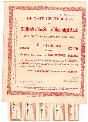 State of Mississippi USA, 1925, Deposit Certificate for Bonds from 1938, uncance