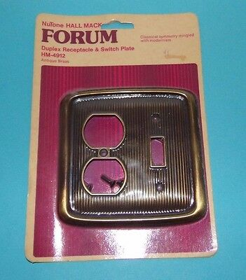 Vtg NOS NUTONE Hall Mack FORUM Combo Switch Outlet Plate Ribbed Brass Tone
