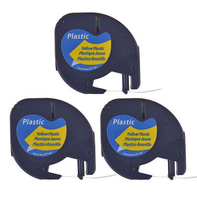 3PK For DYMO LetraTag LT 91332 Black on Yellow plastic Label Tape 12mm S0721620