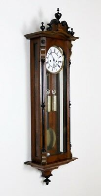 Antique 2 Weight Walnut & Ebony Vienna Regulator Wall Clock by Lenzkirch
