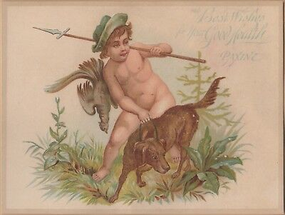 Victorian Trade Card-Paxine-Patent Medicine-Dennis Mfg Co-Boy Hunting w/ Dog