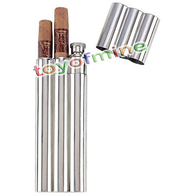 Stainless Steel Chrome 3 Finger Cigar Case Tube With Built In 2oz Hip Flask NEW