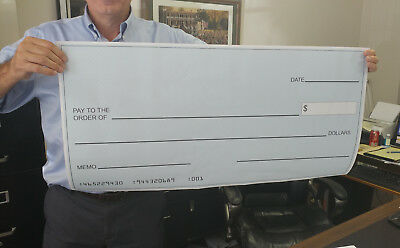 "Large 18"" x 36"" Blank Presentation Check, Big Checks"