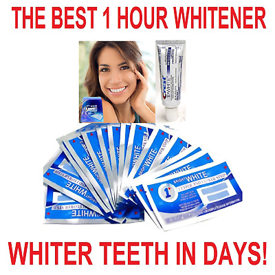 Bright White 1 Hour Teeth Whitening Strips + Crest3D Whitening Travel Toothpaste