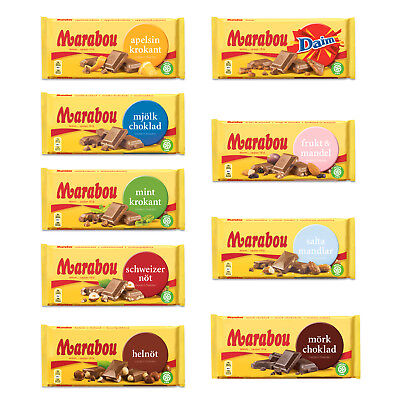 Marabou Mjolkchoklad 180-200gr 7oz Chocolate Bars Many Flavors Made in Sweden
