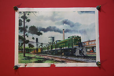 Rare  Howard Fogg Vintage Southern Railway System Poster - Diesel Switcher 2119