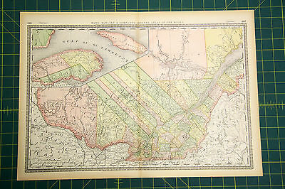 Quebec Canada - Rare Original Vintage 1883 Rand McNally Antique World Atlas Map