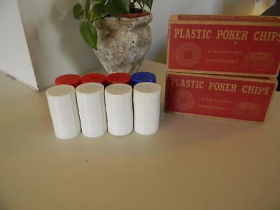 Lot Of 198 Vintage Interlocking Plastic Poker Chips with Original Box-USA Made
