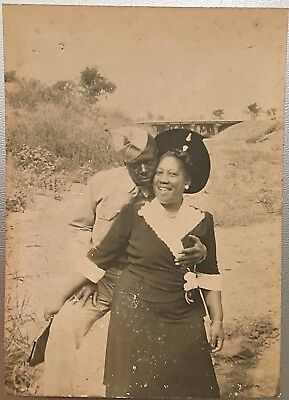 Antique African American Military Husband Loving Wife Old Photo Black Americana