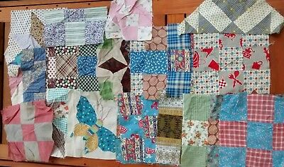 Vintage Patchwork Unfinished Handmade Quilt Blocks Squares c. 1950s 1960s
