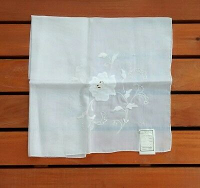 NOS Vintage Madeira Portugal Hand Embroidered White Floral Handkerchief Wedding
