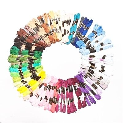 100 Pieces Of Mixed Colours Thread Skeins Floss 100% Cotton - For Embroidery,