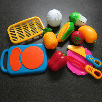 Children Kids Toys Pretend Play Cutting Fruit Vegetable Food Kitchen Plastic Toy