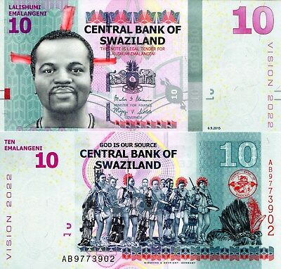 SWAZILAND 10 Emalangeni Banknote World Paper Money UNC Currency Pick p-New 2017