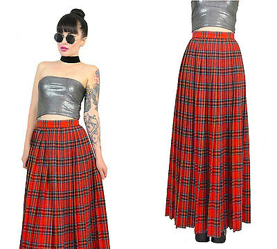 vtg 70s tartan plaid maxi skirt ultra draped pleated wool high waisted hipster S