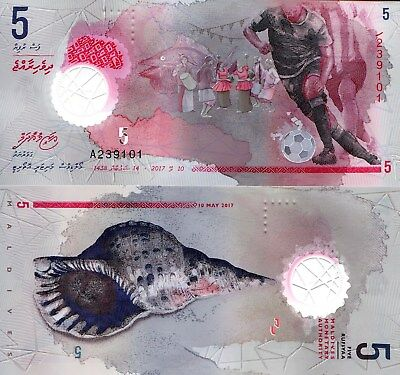 MALDIVES 5 Rufiyaa Banknote World Paper Money UNC Currency Pick New 2017 Soccer