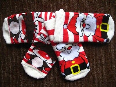 2 Pack Christmas Santa Deer Red Warm 6-12 Months 15.5-18.5 Socks Stocking Filler