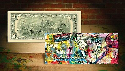 JUSTICE LEAGUE * DC Comics Rency / Banksy ART on GENUINE U.S $2 Bill HAND-SIGNED