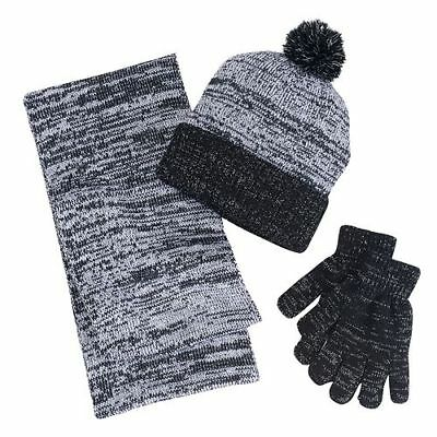 NWT! 3 Piece Infinity Scarf, Hat & Gloves Set, Black/Gray with Sparkle Details
