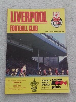 529) Liverpool v York City  programme fa cup 18-2-1986