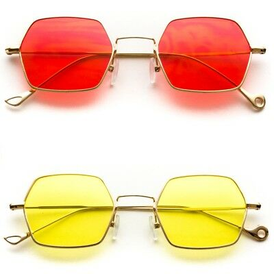 Tinted Lens Octagon Retro Gold Frame Sunglasses