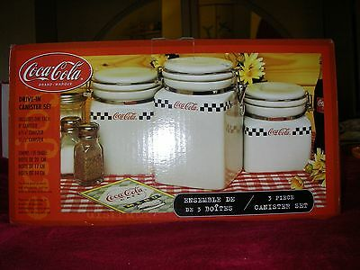 NIB Coca Cola brand 3 pc checks drive in canister set hinged lids COKE 50s diner