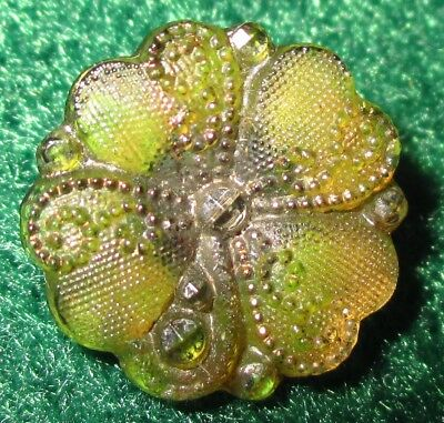 Antique Victorian Lacy Glass Button - Lime Green Flower Faux Steel & Gold Scroll