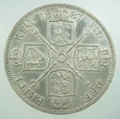 Great Britain Double Florin 1887 Silver #b Roman I Victoria Uk Crown Money Coin