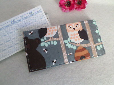 Bears, Owls, Squirrels / Woodland Critters Fabric Checkbook Cover, Handmade