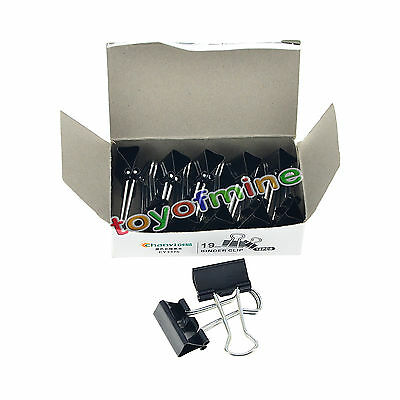 Black 24 x Black Home Office Student Documents Papers Binder Clips 19mm Width
