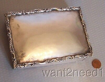 40s/50s MEXICO STERLING BOX card cigarette vanity 925 SIGNED CA 433g SOLID 15oz