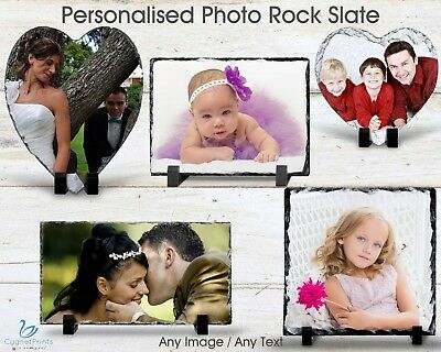 Personalised Rock Slate Custom Photo Image Frame Picture Portrait Plaque Gift