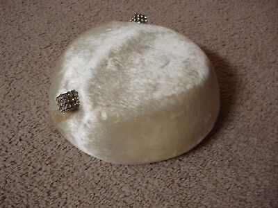 Antique Off White Sheared Beaver Pill Box Style Hat
