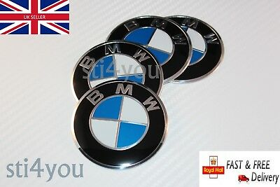 4 x 57mm BMW Wheel Stickers Badges Center Caps E30 E36 E46 1 2 3 4 5 6 7 8 X3 X5