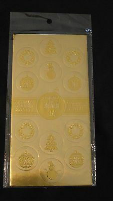 Geographics GeoPaper 40 Holiday / Christmas Gold Embossed Foil Envelope Seals