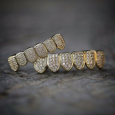 MEN S ICED OUT Hip Hop Gold Teeth Grillz Caps Top   Bottom Grill Set ... 32764224f