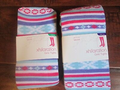 Girls Striped blue purple pink TIGHTS hose size 4-6 r 7-10 NEW Christmas Holiday