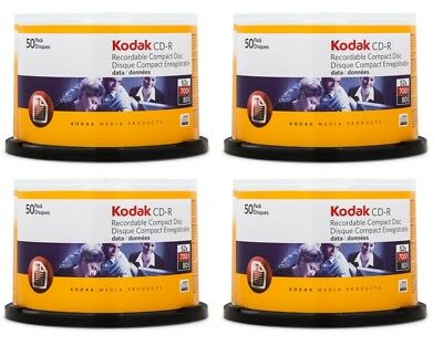 KODAK CD-R 200 pack 700MB 52X Branded Blank Recordable Discs Spindle - NEW