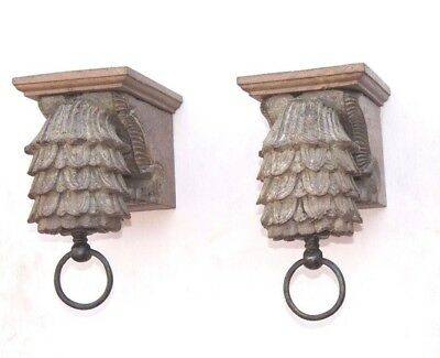 Carved Vintage Indian Rare Wooden Wall Hanging Bracket Pair PE-28 HOME DECOR EDH