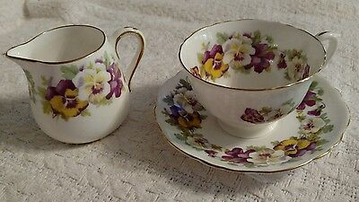 crown staffordshire f15069 mini milk pot and cup and saucer