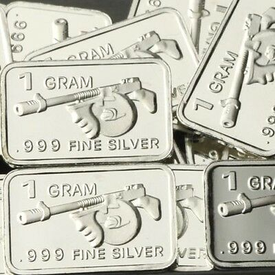 "Best Junk Drawer: 1 Gram .999 Fine/Solid Silver Bullion. Art-Bar: "" TOMMY-GUN  """