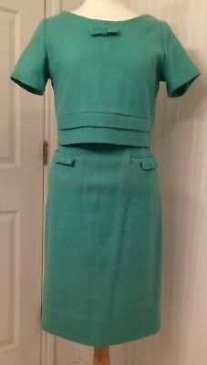 vintage 1950's suit, light green wool with bows, wiggle straight skirt