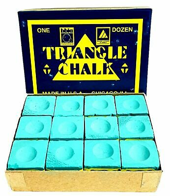 12 Pieces BOX GREEN Genuine Triangle Snooker or Pool Cue Chalk - by Tweeten  USA