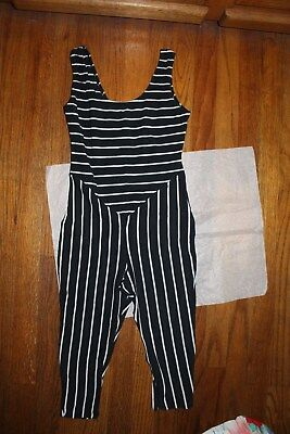 1970s Juniors' Black White Striped Unitard Jumpsuit Dance Gymnastics Aerobics