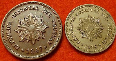 URUGUAY 1936 1 & 1947 2 CENTESIMO CENT COIN LOT OF 2 AU-High Grade