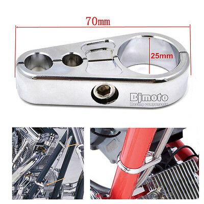 "1"" 25mm Chrome Frame Handlebar Clutch Cable Brake Line Clamp Clip For Harley"