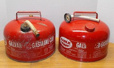 2 Two Vintage Red EAGLE Galvanized Steel 2.5 gal Gallon Gas Cans