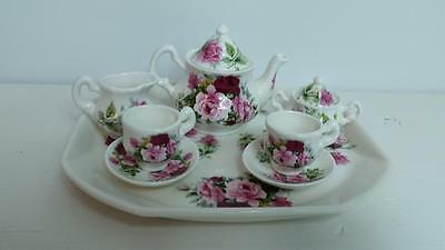 Royal Daulton Eurostar Fine China Floral Rose Miniature Tea Set